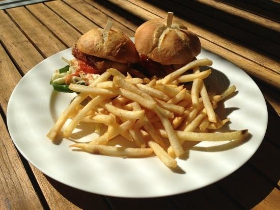 Deck Eatery & Bar: pork belly slider with fries, was $15 for lunch!