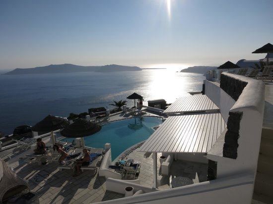Santorini Princess: pool and view from restaurant at SP