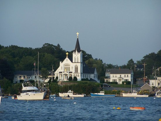 Tugboat Inn: view of church across the harbor