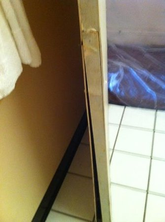 Econo Lodge Sharonville: Bathroom door coming apart from moisture damage.