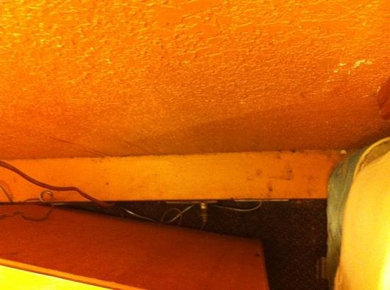 Econo Lodge Sharonville: Old food, bugs, and dust bunnies behind bedside table.