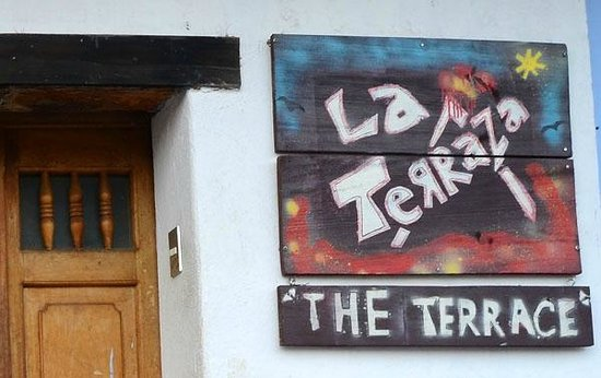 The Terrace Hostel: The sign you'll see from the street