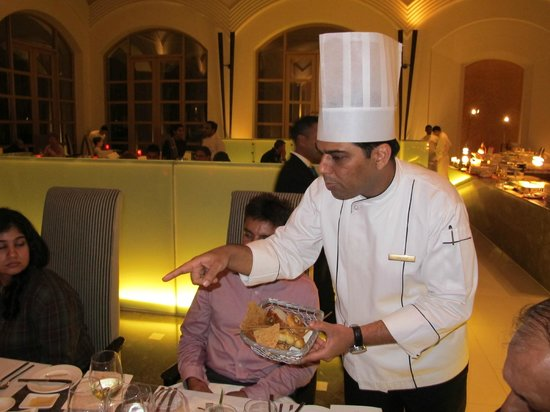 Cilantro: Exec Chef Sandeep Kalra expalining the different breads to guests