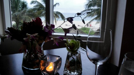 3800 Ocean: View and flowers at our table