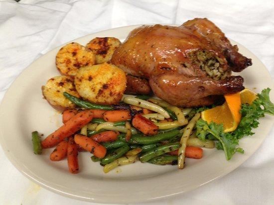 Christoffs Family Dining: Apricot glazed stuffed Cornish hen...amazing!!!