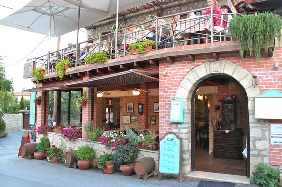 Rementzo Taverna: View from street, view of outdoor patio