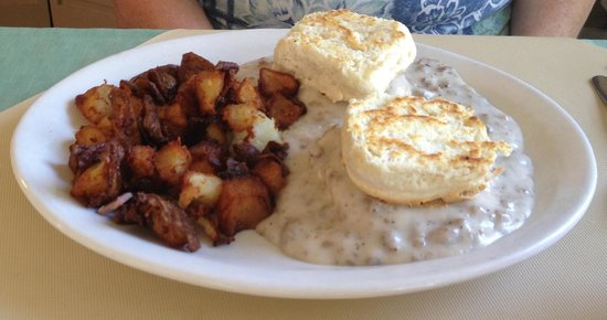 Station House: Sausage & Gravy with Biscuits & Hash Browns