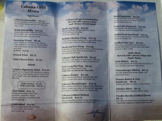 Hersheypark : Good luck finding the Cabana Grill menu online so here it is...a BigMo exclusive