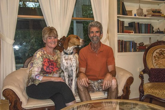 White Lions Bed And Breakfast: Your hosts, Kayla, Mark and Hank the dog