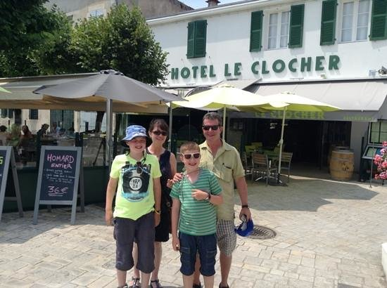 us on our last evening at Le Clocher looking forward to our meal - I can recommend the fish soup