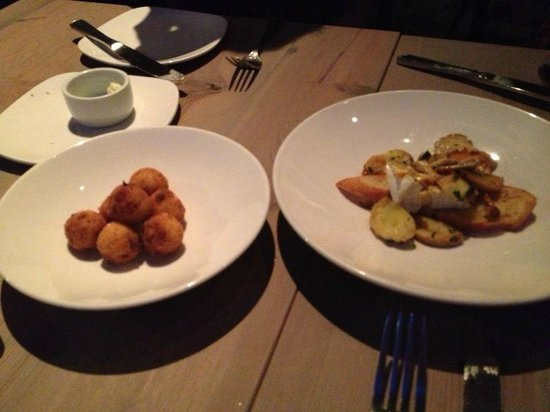 Miller Union: Grit fritters with country ham, mushroom and Camembert toast