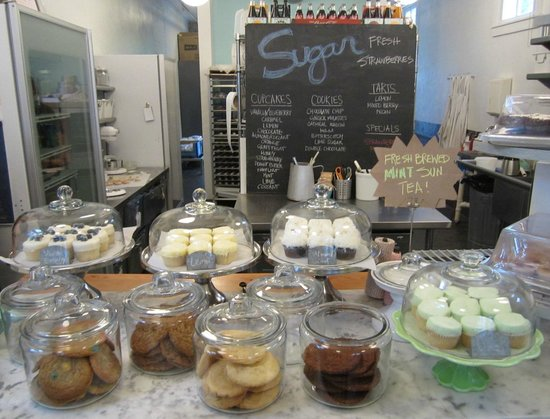 Sugar Bakeshop: counterspace of display w/menu