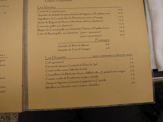 Auberge les Vignes : menu