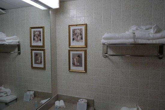 Rodeway Inn Springhills Lake George : Fresh towels, tiles, pictures in the bathroom