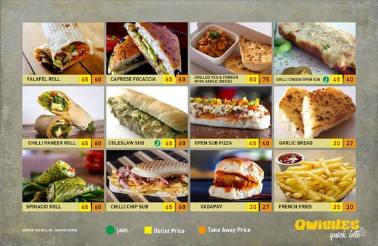 New Menu of Qwiches with Display of Food Items