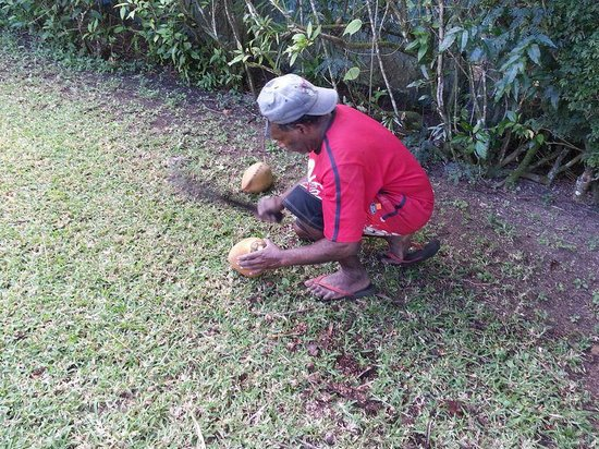 Pacific Lagoon Apartments: One of the friendly staff preparing our coconut