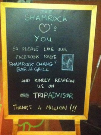 Shamrock Chang bar and grill: please