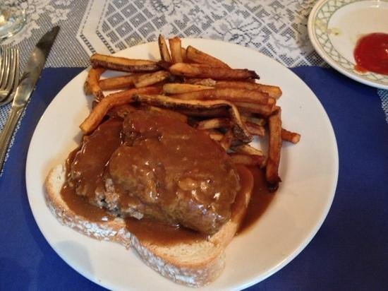 Sandisfield, MA: open face meatloaf snd french fries