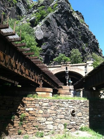 Harpers Ferry National Historical Park: Train trestle coming out of mountain