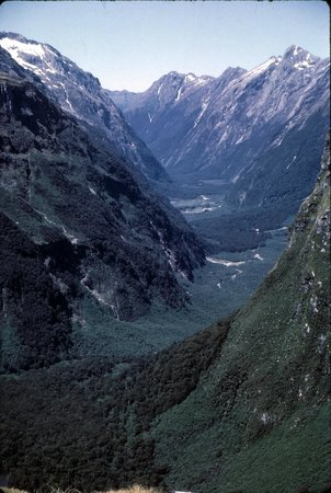 Milford Track: Clinton Canyon slide photo 1964.