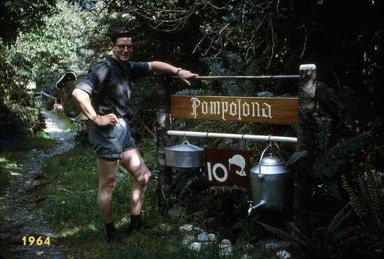 Milford Track: The poser. The photos have been scanned from colour slides from 1964.