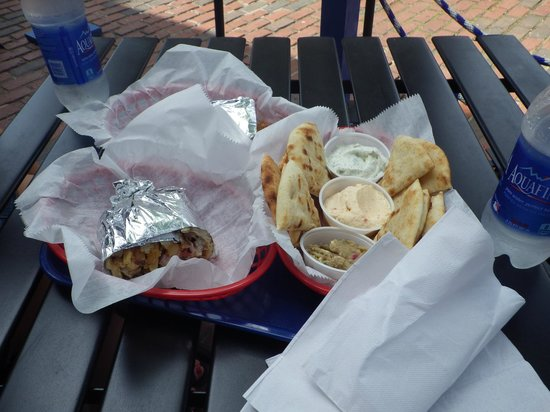 The Gyro Spot: Lamb Gyro with Trio of spreads