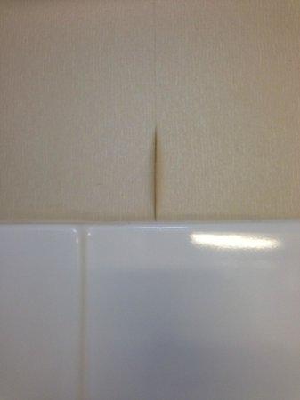 Blue Cypress Hotel: Peeling wallpaper in our bathroom
