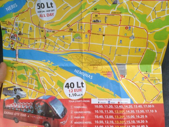 Map Of Route Times And Prices Picture Of Kaunas City Tour - Kaunas map