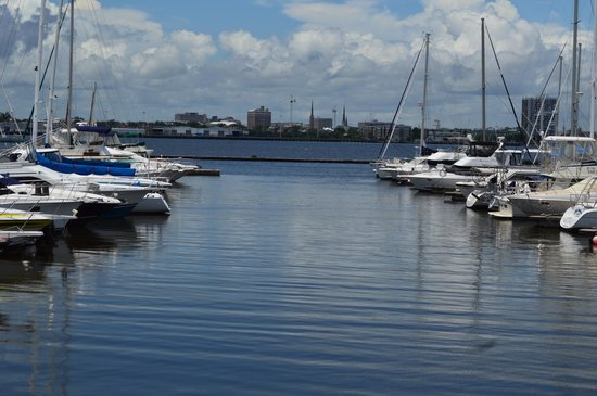 Mount Pleasant Memorial Waterfront Park: View from the private marina near Patriot's Point - near sailing school