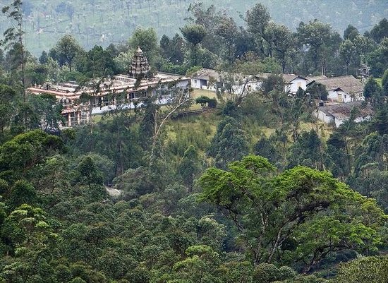 Valparai Balaji Temple seen from mountain above