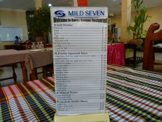 Borey Sovann Restaurant: Drink menu