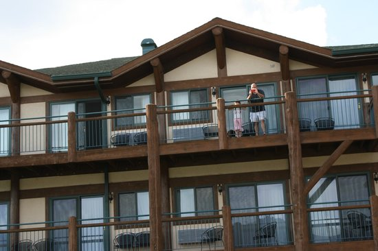The Estes Park Resort: My family on the balcony outside our room.