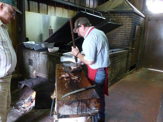 City Market Schulenburg: City Market Brisket Being Sliced for Me