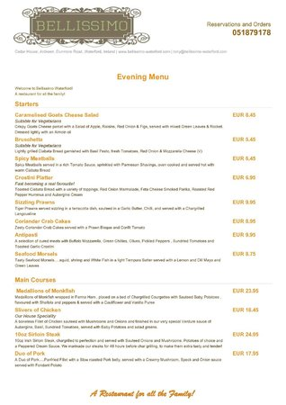Bellissimo : Evening Menu Page 1