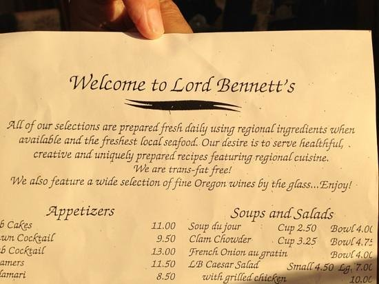 Lord Bennett's Restaurant and Lounge: Fresh daily seafood!