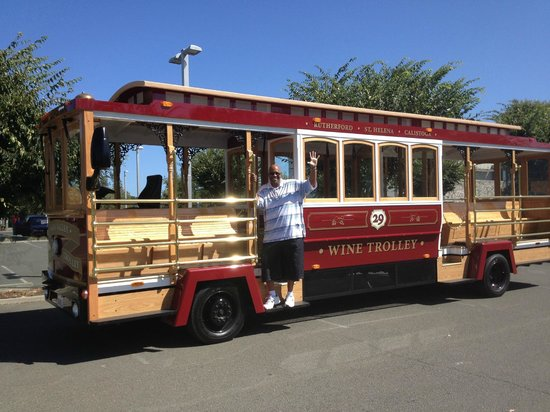 Napa Valley Wine Trolley: My hubby on the Napa Wine Trolley!
