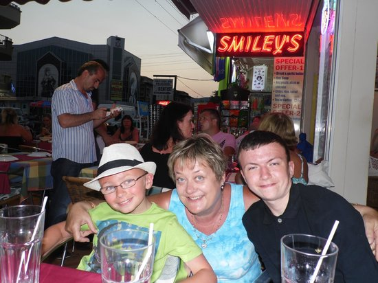 My boys, with the owner at Smiley's Restaurant, Marmaris