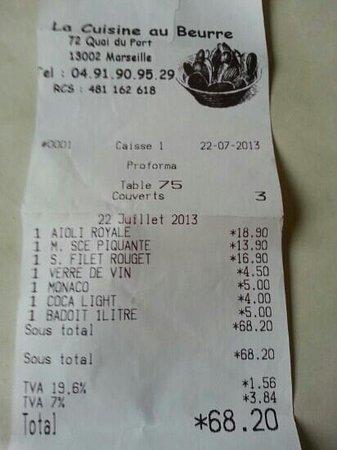 La Cuisine au Beurre : facture du 22 07 2013