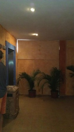 Hotel Barcelo Maya Beach: Uxmal building temporary wall by elevators, shields construction work