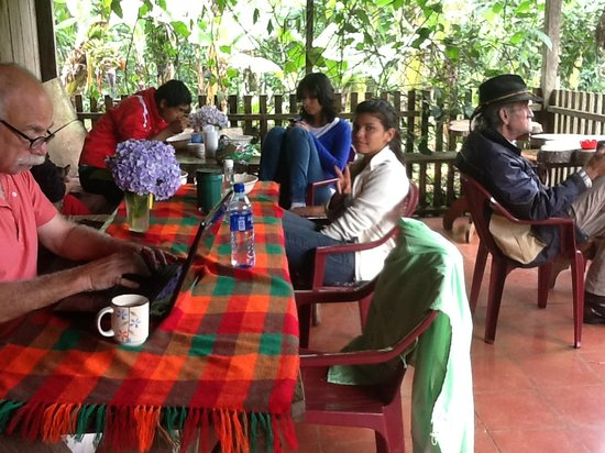 """Finca Lindos Ojos: Hanging out in the """"Comedor"""" and relaxing with organic coffee from the Finca"""
