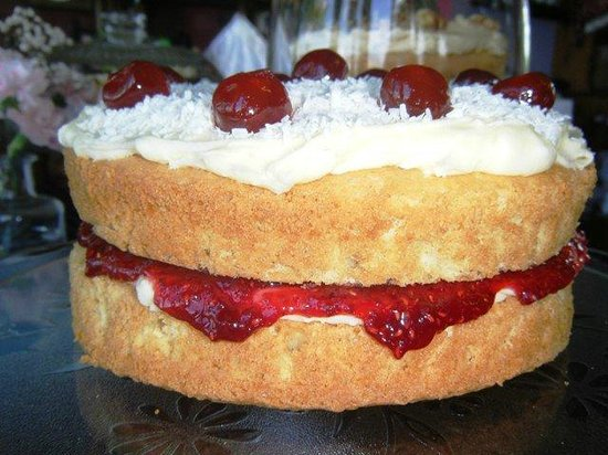 Melton Constable, UK: Coconut and Cherry Cake