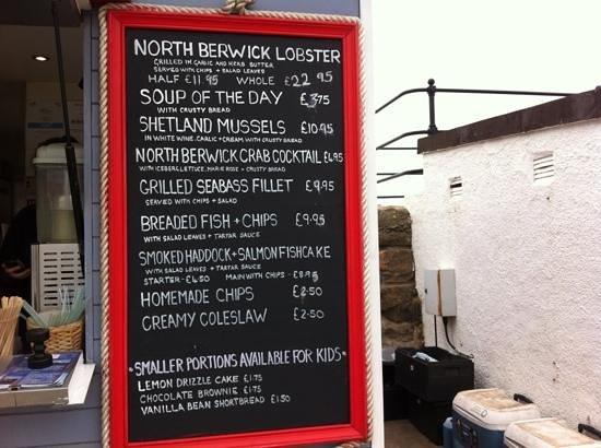 The Lobster Shack: food menu