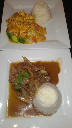 Drunken Poet Cafe: hicken Curry and Beef Fried Basil dishes