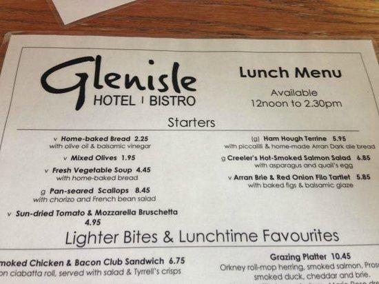 Glenisle Restaurant: Menu