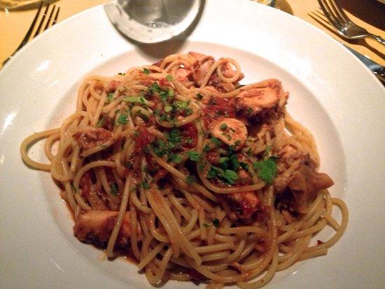 Spaghetti with octopus, Trattoria Delia, Burlington VT