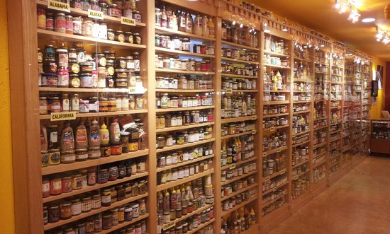 National Mustard Museum: One wall in the downstairs museum