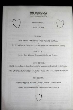 The Douglas Hotel Bistro: Special Occasion Menu