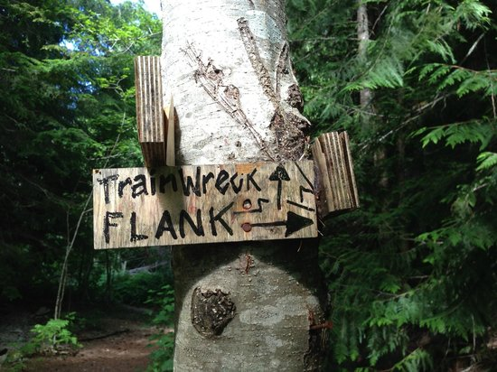 The Whistler Train Wreck Trail : Sign indicating direction just off the parking lot once you step into the woods.