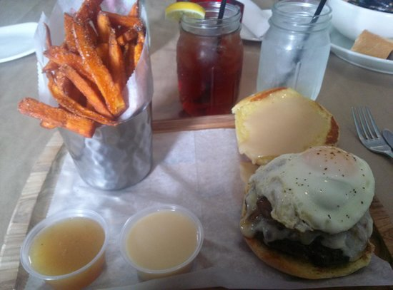 Mussel & Burger Bar: Bacon Breakfast Burger with Sweet Potato Fries, smoked pineapple puree, maple aiolio