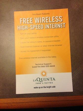 La Quinta Inn & Suites Seattle Bellevue / Kirkland : High speed internet joke